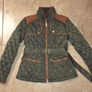 Vince camuto olive jacket with belt suede gold